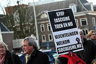 Protestbord tijdens de herdenking van de februaristaking