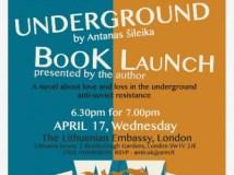 """Londono knygų mugės metu – Antano Šileikos romano """"Pogrindis"""" pristatymas"""