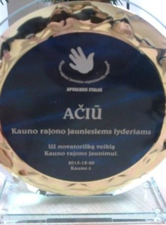 Apdovanojimas už jaunimo veiklų novatoriškumą 2015 m.