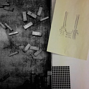 Sketch of Battersea Powerstation for composition