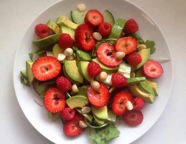 Raspberry, Strawberry, Avocado & Macadamia Salad