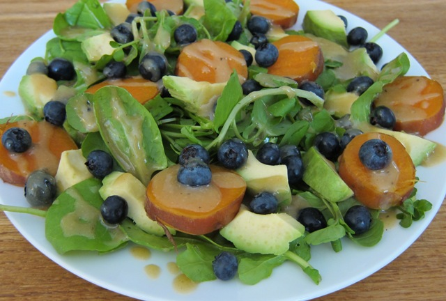 Sweet Potato & Blueberry Salad with a Creamy Tahini Dressing