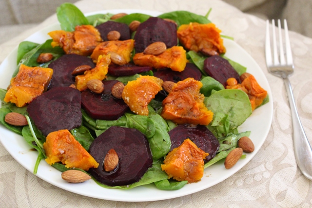 Roasted Butternut and Beetroot Salad with Toasted Almonds & Honey Balsamic Dressing