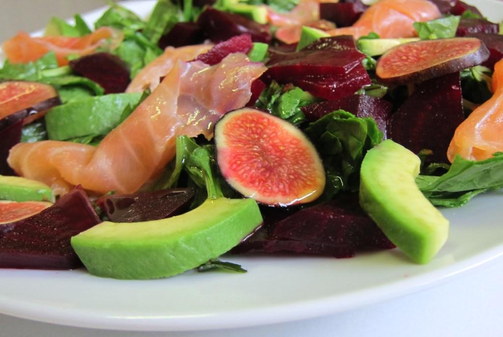 Smoked Salmon, Fig & Roast Beetroot Salad