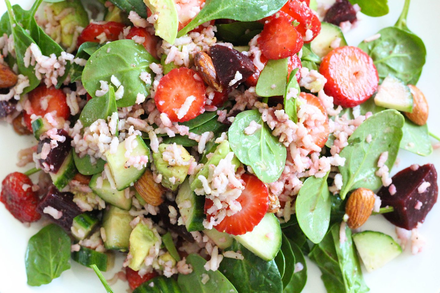 Summer Strawberry, Brown Rice & Cucumber Salad (gluten-free, dairy-free)