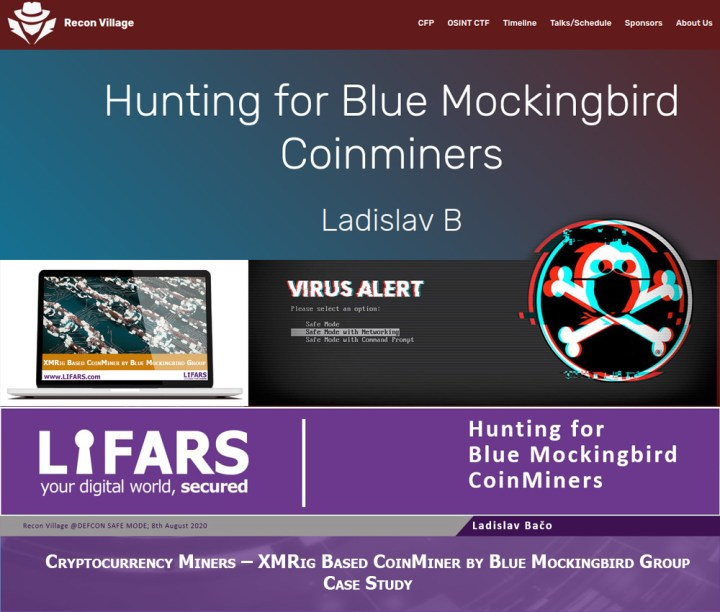 DEF CON Hacking Conference: Hunting for Blue Mockingbird Coinminers, presentation by Ladislav B