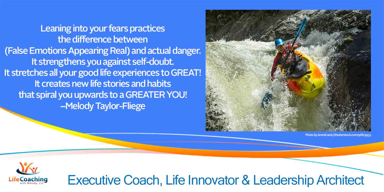Whitewater rafting image with quote about self expansion through leaning into your fears.