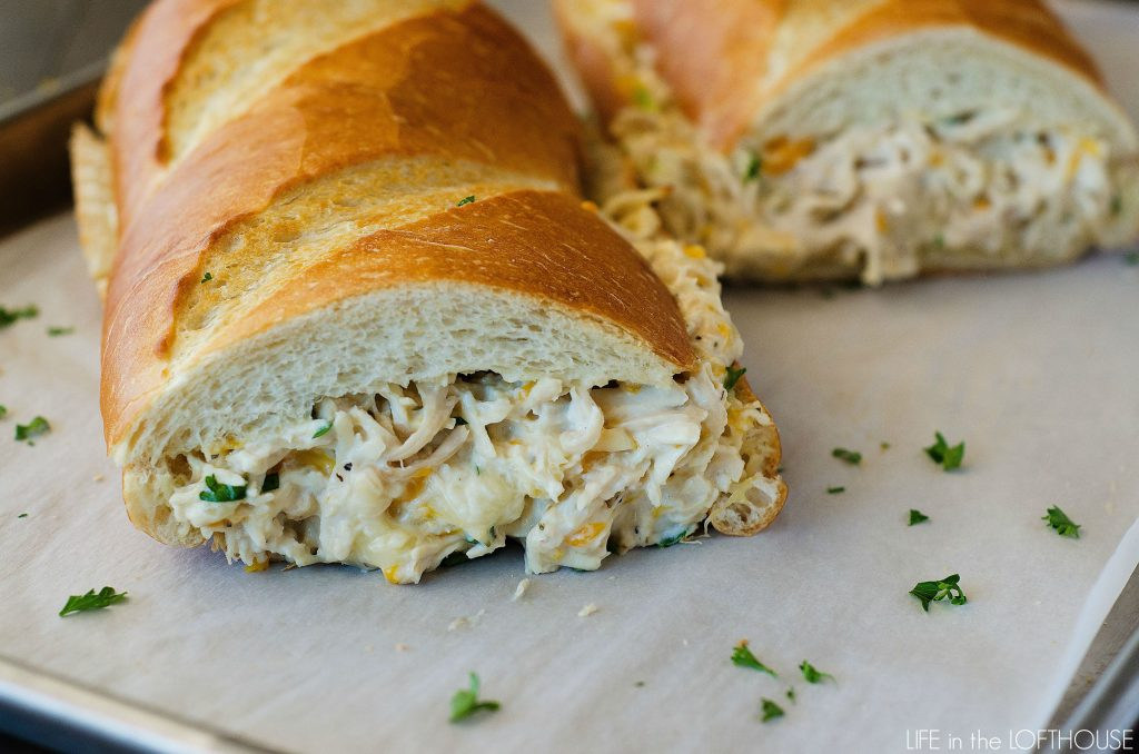 Chicken Stuffed French Bread is a quick and easy dinner.