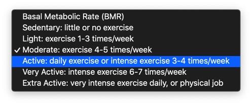 身体活動レベルの説明