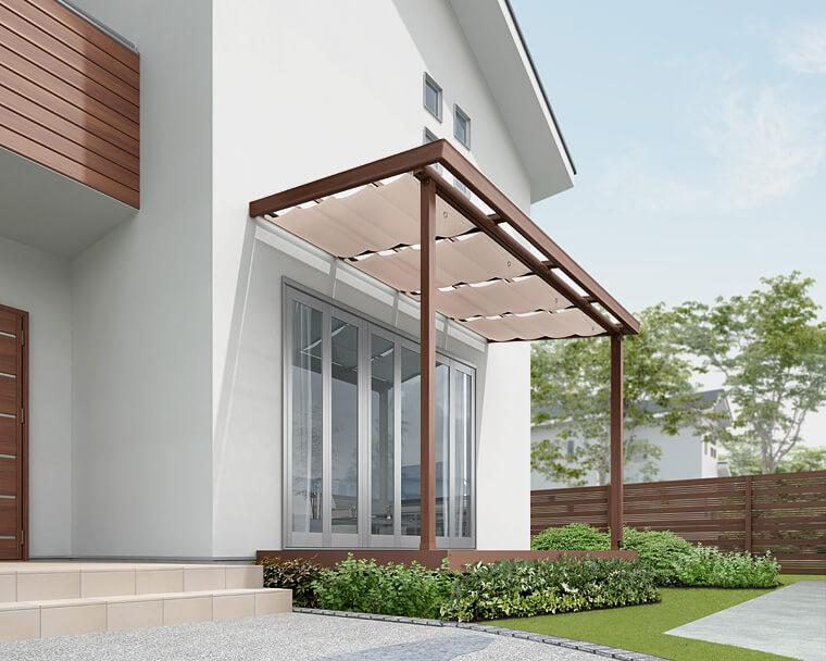 木調スタイルが素敵なテラスの価格 LIXIl:シュエット|愛知県西尾市、蒲郡市を中心に三河地区№1スタッフ数のエクステリア・外構 ライフ・ランド