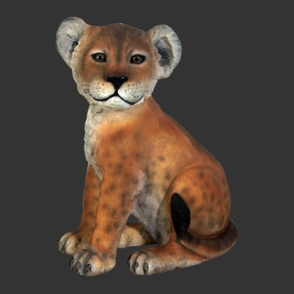 Lion Cub Sitting Life Size Realistic Animal Model
