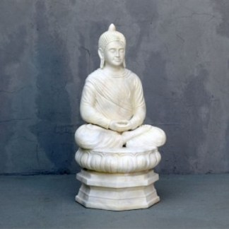 stone effect buddha statue sat on lotus leaf garden ornament