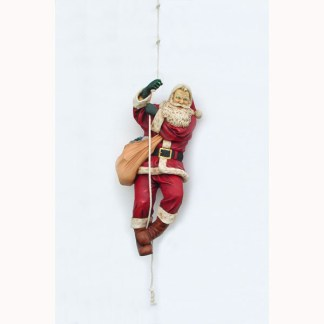 Climbing Santa On Rope Life Size 3D Realsitic Figure