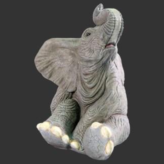 Baby Elephant Sitting Life Size Realistic 3D Statue