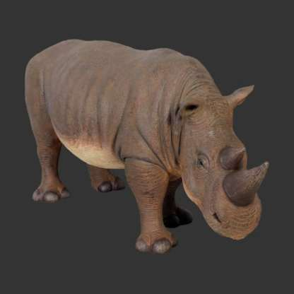 Baby Black Rhinocerous 3D Realistic Life Size Wild Animal Statue