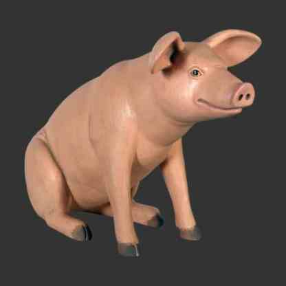 Small Pink Pig Sitting Statue 3D Realistic Farmyard Animal Model