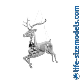 Hanging Reindeer-Silver Leaf Lifesize Realistic Christmas Model
