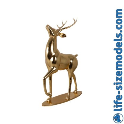 Majestic Stag Figure-Gold Leaf 3D Realistic Life Size Christmas Statue