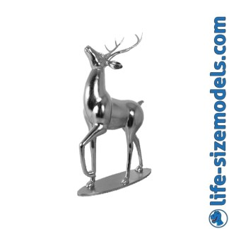 Majestic Stag Figure-Silver Leaf 3D Realistic Christmas Model