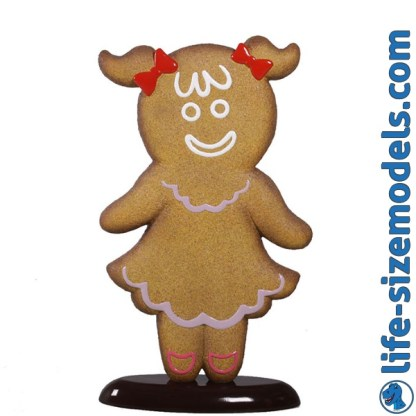 Gingerbread Girl Figure 3D Realistic Lifesize Christmas Prop