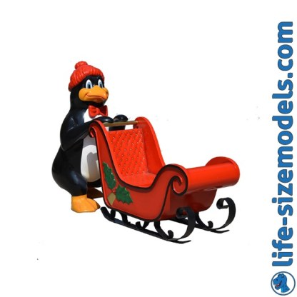 Penguin with Sleigh 3D Realistic Lifesize Model