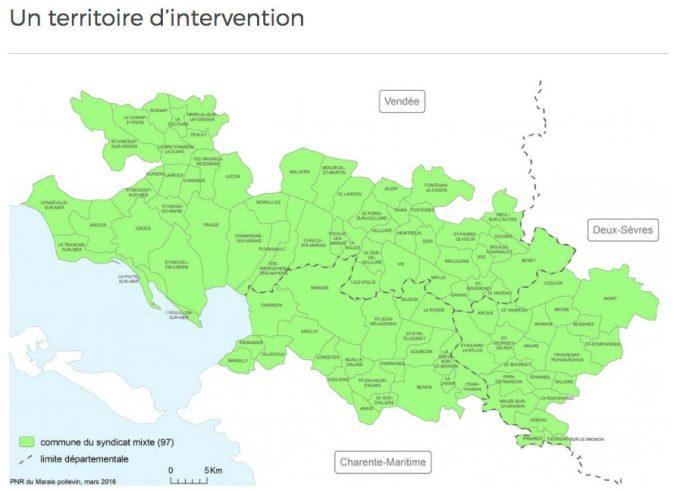 Carte des communes du territoire du Parc naturel régional du Marais poitevin
