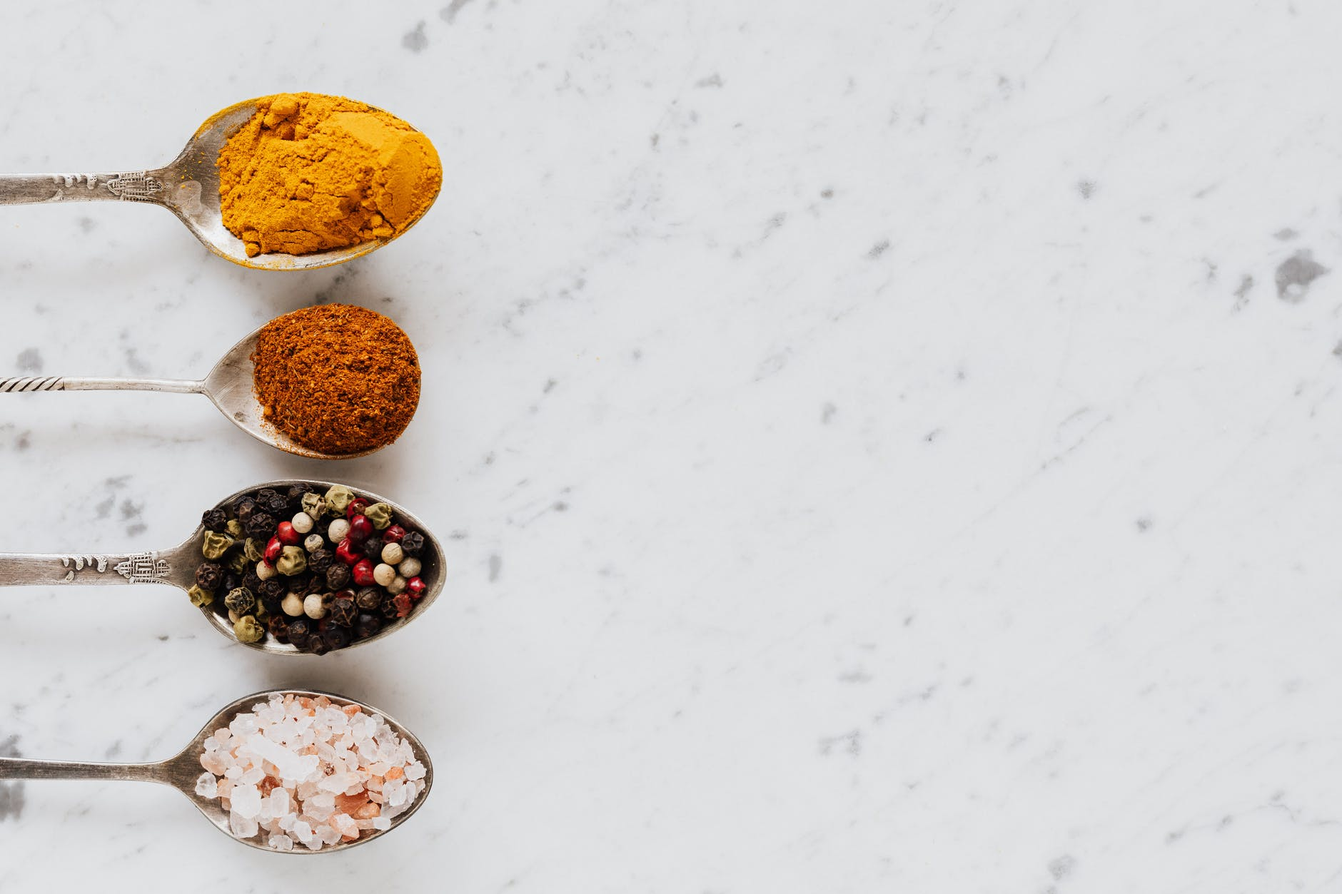 various types of spices for healthy food food preparation