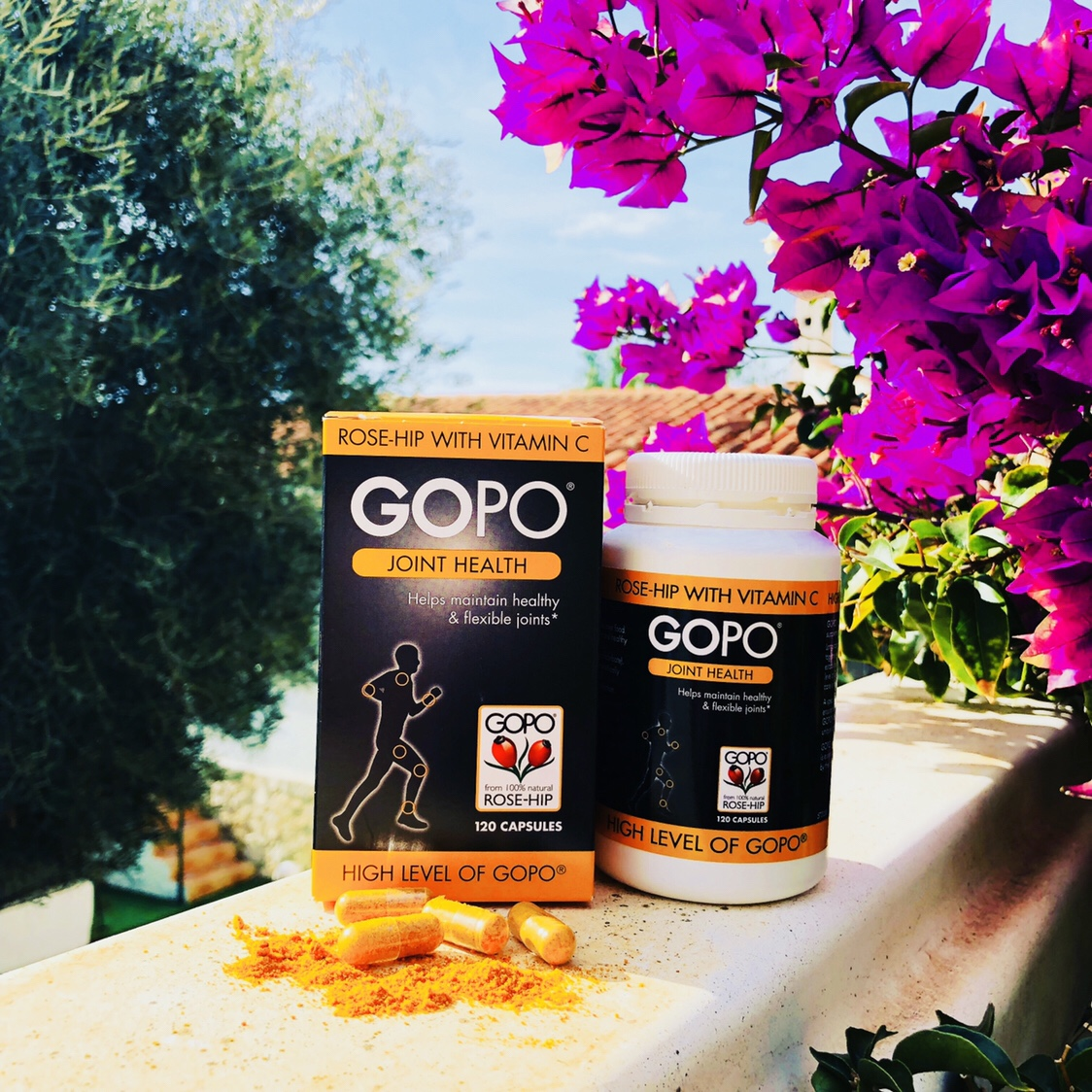 GOPO Joint Health with Spanish gardens in the background