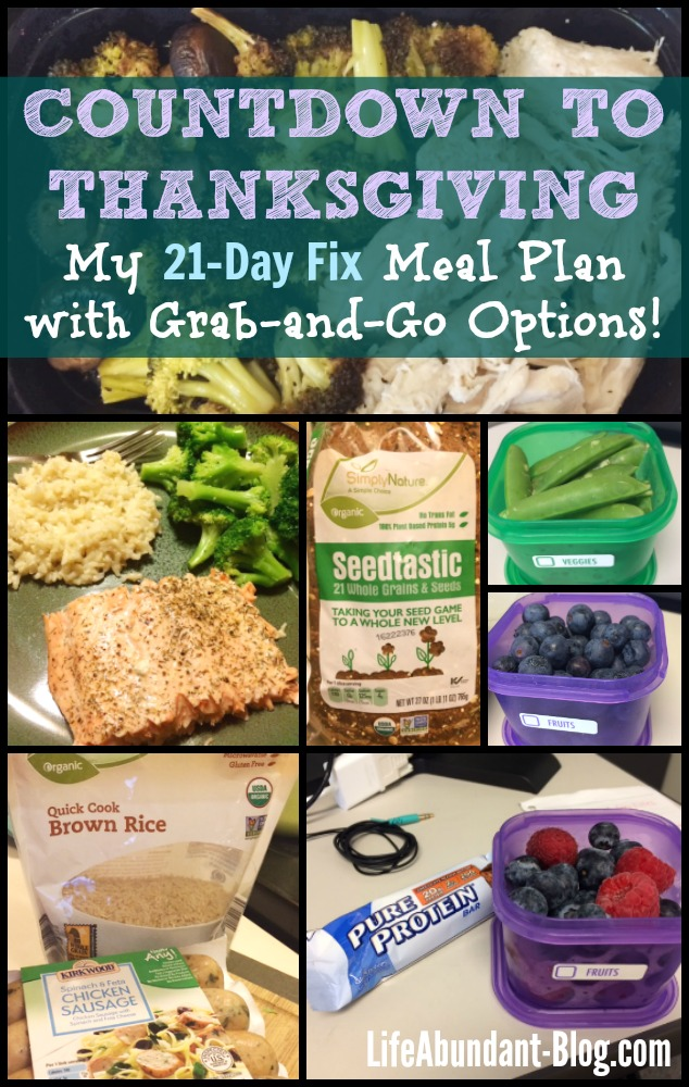 21-Day Fix Meal Plan - Countdown to Thanksgiving