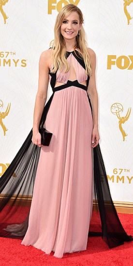 Joanne Froggatt arrives at the 67th Primetime Emmy Awards on Sunday, Sept. 20, 2015, at the Microsoft Theater in Los Angeles. (Photo by Jordan Strauss/Invision/AP)