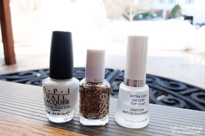Gold & White Manicure