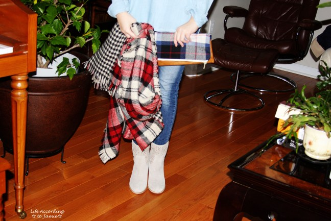 Plaid Blanket Scarf & Fold-Over Clutch