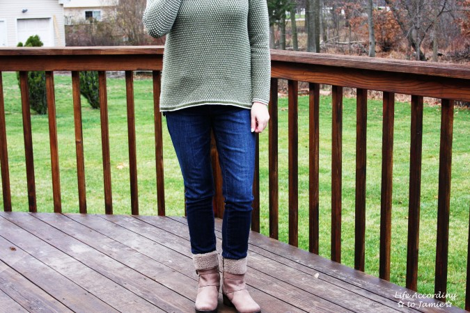 Olive Green Knit & Shearling Boots