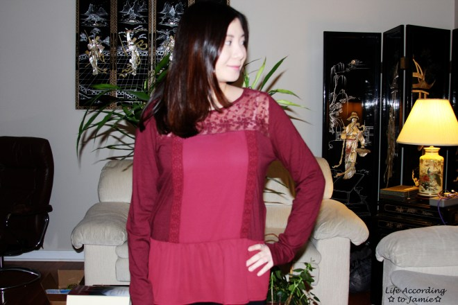 Red Lace Yoke Peplum