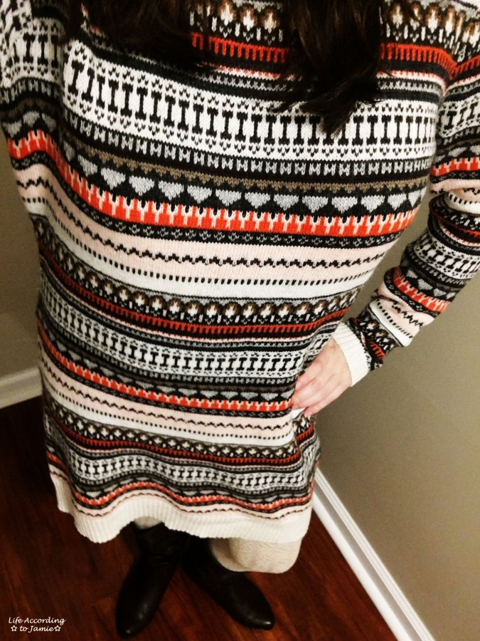 Jacquard Knit Sweater Dress 3