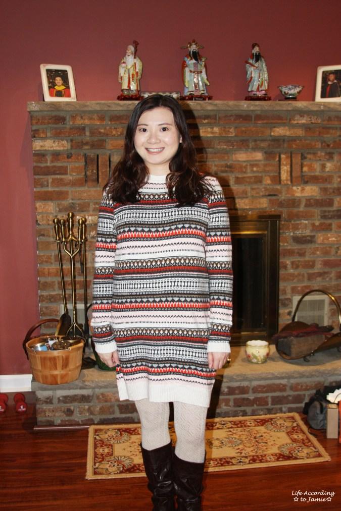 Jacquard Knit Sweater Dress