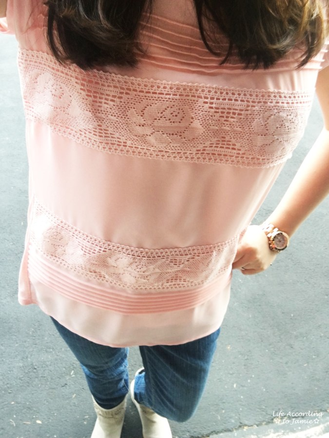 Powder Pink Lace Stripes