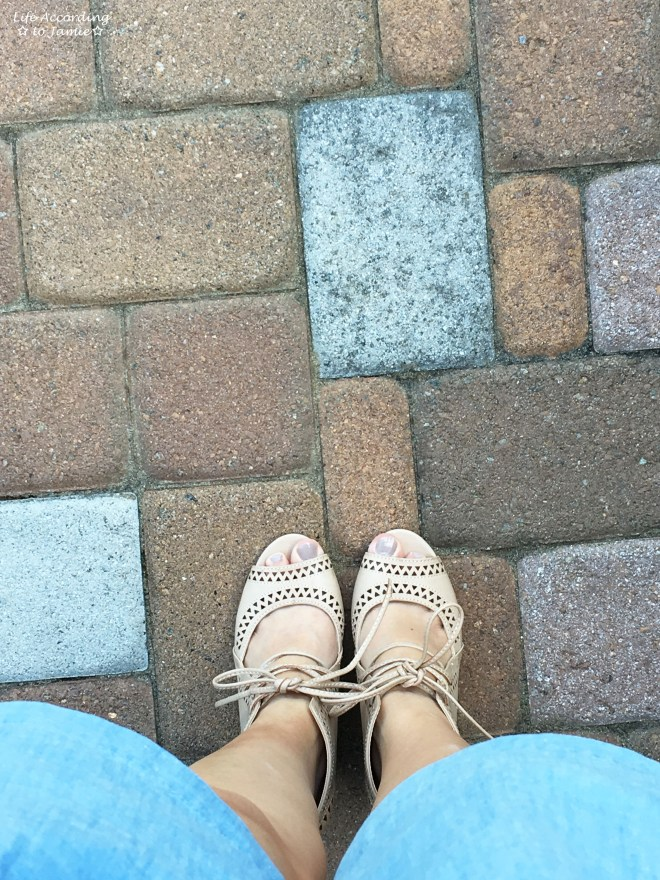 Chambray + Lace Up Wedges 4
