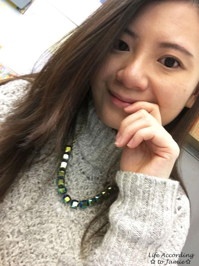 Mock Turtleneck Sweater + Block Necklace 2