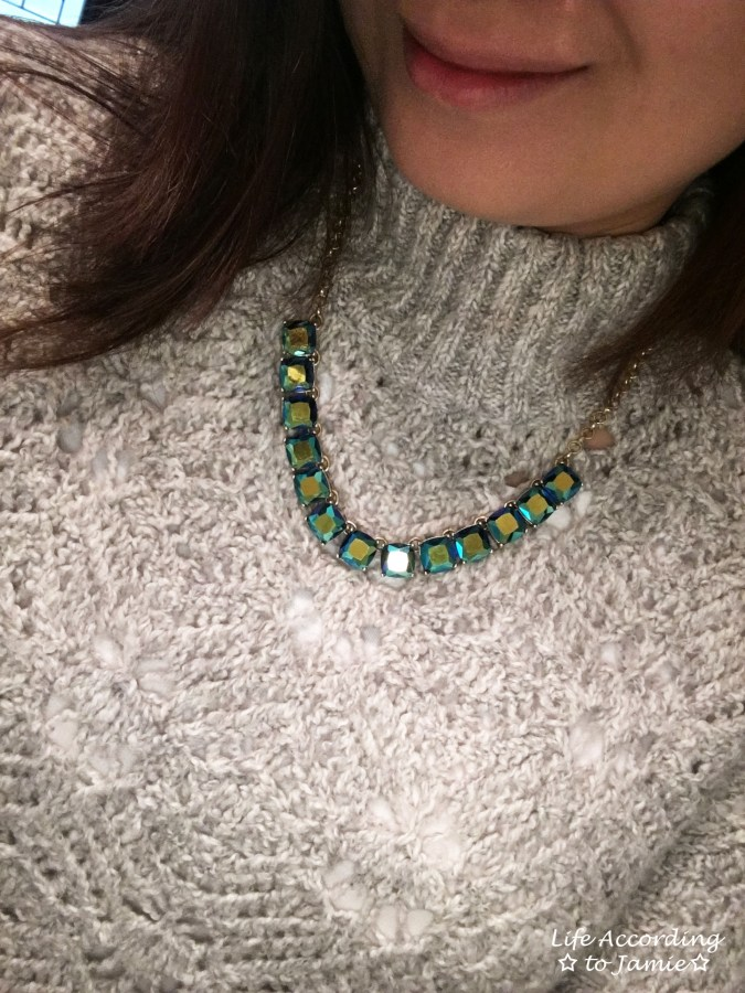 Mock Turtleneck Sweater + Block Necklace