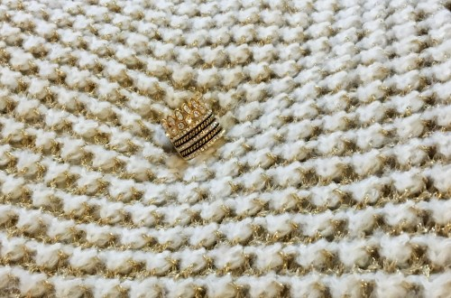 White & Gold Sweater + Gold Ring Stack