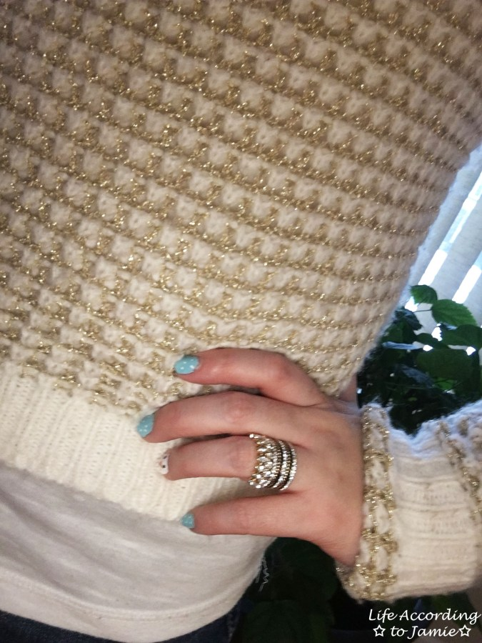 White & Gold Sweater + Gold Ring Stack 1