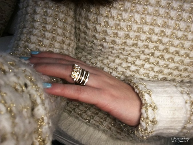 White & Gold Sweater + Gold Ring Stack 3