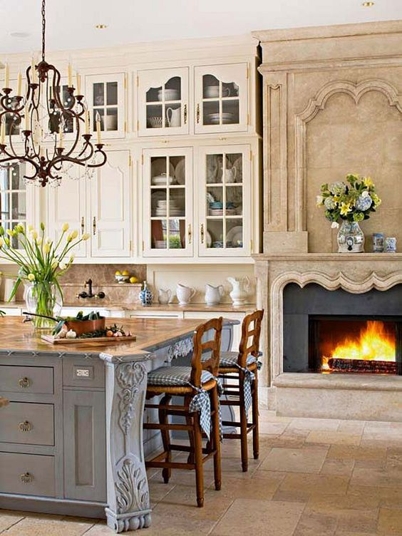 French Country Kitchen - Fireplace