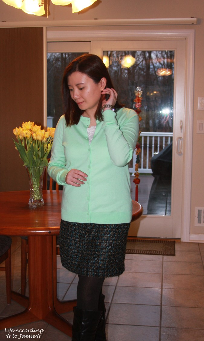 Mint Cardigan + Tweed Skirt 4
