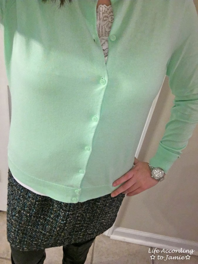 Mint Cardigan + Tweed Skirt 5