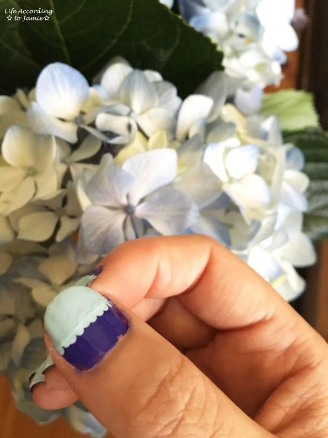 Mint & Purple Scalloped Nails 1