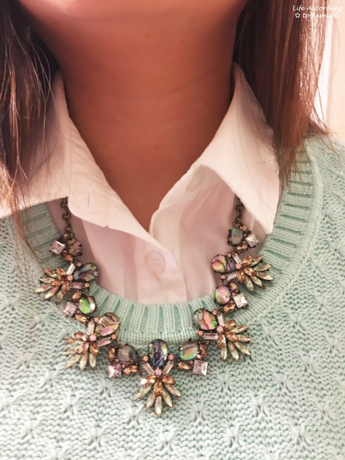 Mint Sweater + Statement Necklace 2