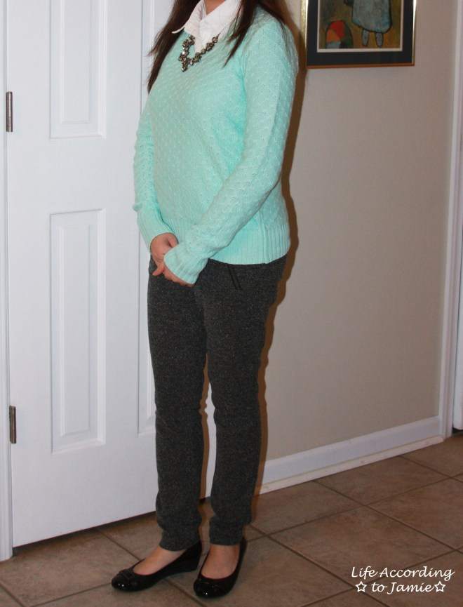 Mint Sweater + Statement Necklace 4