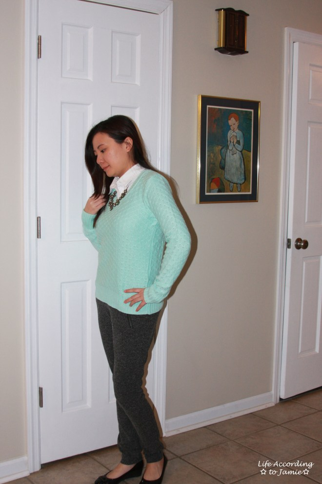 Mint Sweater + Statement Necklace